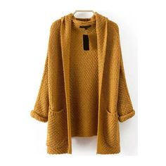 Hooded Chunky Knit Khaki Coat ($20) ❤ liked on Polyvore featuring outerwear, coats, khaki, khaki coat, hooded coats, long sleeve coat and brown coat