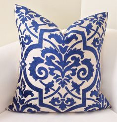 Indigo Blue Pillow Cover Decorative Throw Pillow Damask Pillow Cushion Accent Toss Pillow by nestables on Etsy https://www.etsy.com/listing/206779505/indigo-blue-pillow-cover-decorative