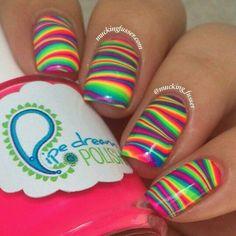 Beautiful nails 2020 Bright summer nails Cheerful nails Colorful nails Fashion nails 2020 Manicure by summer dress Rainbow nails Shellac nails 2020 Fancy Nails, Diy Nails, Pretty Nails, Nail Art Stripes, Striped Nails, Water Marble Nail Art, Uñas Fashion, Fashion News, Nails Polish