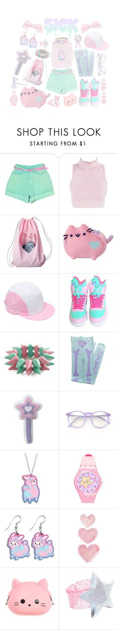"""totally sick"" by bunnylalonde ❤ liked on Polyvore featuring Gund, Larose, Nishe, Wildfox, Shabby Chic, ASOS, cute and pastels"
