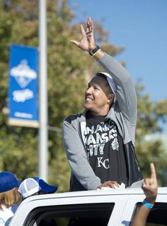 Royals catcher and World Series MVP Salvador Perez waved to the crowds that lined Grand Boulevard on Tuesday, Nov. 3, 2015, during the World Series victory parade in Kansas City.