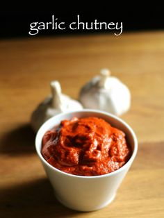 garlic chutney recipe, red chilli garlic chutney for chaat, lasun chutney with step by step photo recipe. this spicy chutney is used in indian street foods