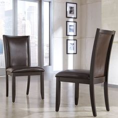 Enjoy these spunky yet comfortable Trishelle dining chairs with rich, brown finishes and modern style. Designed by Signature Designs by Ashley, these plush upholstered chairs will be sure to bring a metro modern feel into your home.