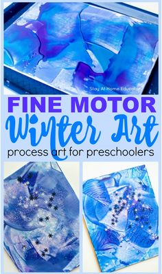 A beautiful winter process art for toddlers project that you will love to keep forever. Winter art project that also strengthens fine motor skills & color recognition. Add this to your preschool art center, or include it in you winter activities for preschool and your winter lesson plans for toddlers and preschoolers. #colors #toddlerart #toddleractivity #finemotorskills #preachoolart #processart