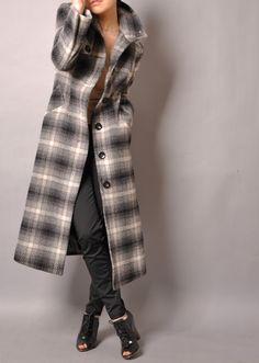 Black White Grey Tartan Plaid Tweed Herringbone Wool by yystudio, $329.80