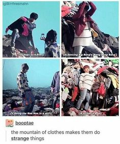 i love how they scavenged the clothes around then wore them