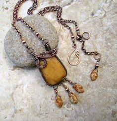 Wire Wrapped Pendant / Golden Leaf Necklace / 7th Anniversary Present / Boho Copper Wire Jewelry / Wire Wrap Jewelry Necklace