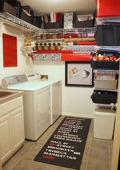 I like this laundry room revamp. Good org ideas, including for wrapping paper and even using plain black bins and white wire shelving. My walls are greenish, so I may skip the red. But something similar would be good.