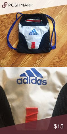 Adidas drawstring backpack Has two zippered pockets at the front and one small zippered pocket inside to store all of your knick knacks.  The front white fabric has some minor scratches on it as pictured in the close-up but otherwise good condition. adidas Bags