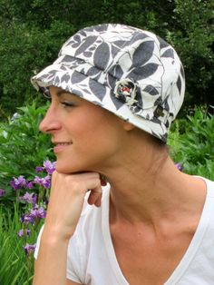 Tara Beach Hat. Great coverage at the neckline and a soft interior makes this a great summer hat for cancer patients and women medical hair loss. 100% cotton.