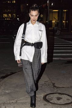 Fashion forward: Bella Hadid was rocking a very unique look on Wednesday as she stepped out in New York solo