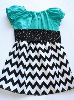 """Teal & Black Chevron Dress """"Taylor"""" Peasant Dress in Bold Turquoise and Black and White Chevron"""