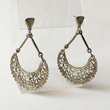 Vintage silver tone dangling HALF MOON shape post and push back earrings Lot 305