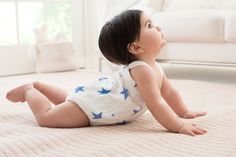 aden + anais Muslin Romper Blue Stars - their new line is cotton muslin, breathable, soft and adorable!