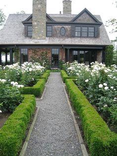gravel paths, boxwood parterres, roses...