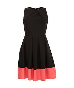 New Look - Coral and Black Colour Block Pleated Skater Dress.