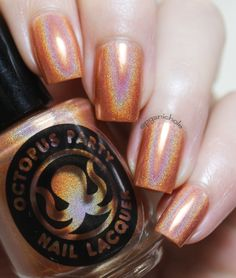 Pumpkin Slice ~ Orangey and delicious, like a rainbow orange soda ~ Octopus Party Nail Lacquer Fall 2014 | Pretty Girl Science