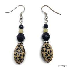 Black Floral Beaded Dangle Earrings by ZaverDesigns on Etsy