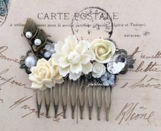 Ivory Wedding Hair Accessories Romantic Bridal Headpiece Cream Hair Comb Woodland Rustic Calla Lilies Pearl Flower Leaves Elegant Rhinestone