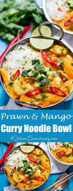 This Prawn and Mango Curry Noodle Bowl is fresh, fragrant and spicy!
