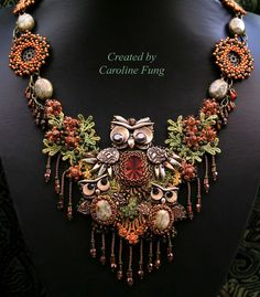 Real cute Owl bead work misc necklace.    Caroline Fung