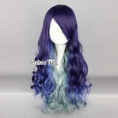 Lolita Long Violette Bleu Verte Mixte Cosplay Perruqe Wig Bouclé Fashion Cheveux