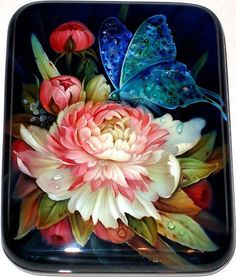 Paper mache with Fedoskino lacquer painting techniquein peony with a butterfly design miniature laquer jewllery box in the style of Zhostovo tray, Russia China Painting, Tole Painting, Russian Folk Art, Russian Painting, Arte Popular, Painted Boxes, Arte Floral, Box Art, Art Tutorials