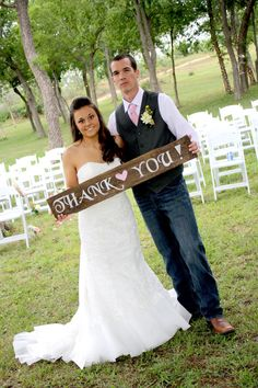 """Rustic Wooden Wedding Sign - """"Thank You"""". $28.00, via Etsy."""