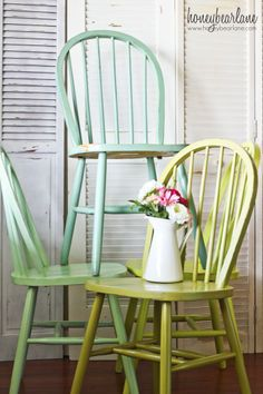 Colors: Martha Stewart Yucca Plant, aqua鈥揗artha Stewart Sea Glass, lime green-Glidden Granny Smith, sage-Glidden Spanish Olive