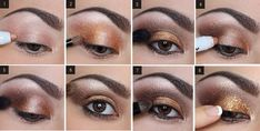 Maquillaje de ojos para Navidad en marrón y dorado, tutorial paso a paso