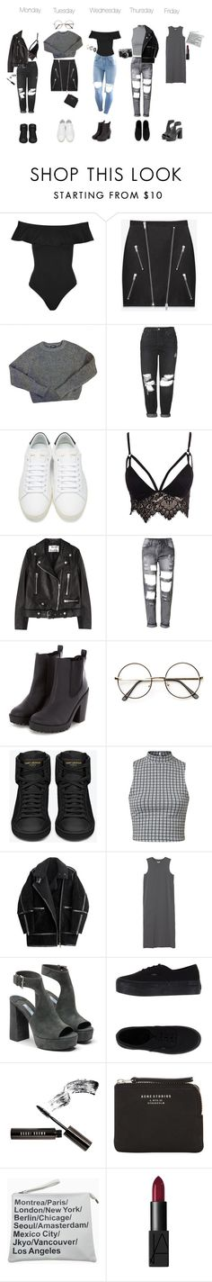 """""""Outfits of the Week 1.0"""" by sparkling-oceans ❤ liked on Polyvore featuring Topshop, Yves Saint Laurent, American Apparel, Club L, Acne Studios, H&M, Monki, Prada, Vans and Bobbi Brown Cosmetics"""