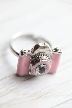 Pink Camera Ring . Enameled . Adjustable . Adorable. $12.00, via Etsy. @Charity McCrary