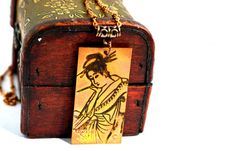 Copper Geisha Necklace Hand-Painted Geisha by heavyistheheart