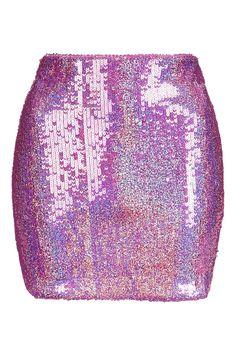 **Pink Hologram Sequin Mini Skirt by Jaded London