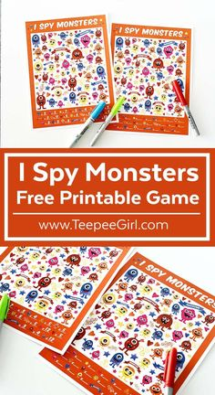 Your kids will love this free I Spy Monster printable game! Use this I Spy game for play dates, parties, or quiet afternoons at home. - Printable I Spy and Bingo Games for Kids - Bingo Games For Kids, Printable Games For Kids, I Spy Games, Games For Toddlers, Games For Teens, Free Printables, Activities For Kids, Monster Games For Kids, Toddler Games