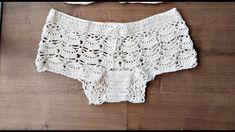 Crochet Bikini Top, Crochet Shorts, Lace Shorts, Swimsuit With Shorts, Crochet Videos, Crochet Baby, Bikini Tops, Crochet Patterns, Knitting
