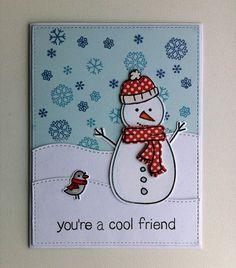 Card winter christmas snowman bird snowdrift landscape Lawn Fawn Making Frosty Friends Cool friend - JKE