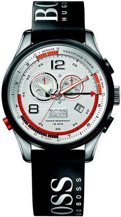 Hugo Boss Watch  (Regatta Black Rubber Strap, Chronograph, Orange Trim, Men's Pre-owned Designer Wristwatch)