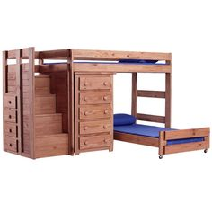 Chelsea Home Twin Over Twin L-Shaped Bunk Bed with 5 Drawer Chest and Staircase.  I like the idea of this bed, but it looks rather cheaply constructed.  I think it would be really cute if it were made with better material and painted white and it would be safe on the bottom