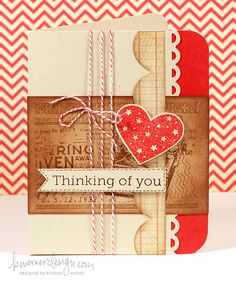 cute card using a heart and bakers twine
