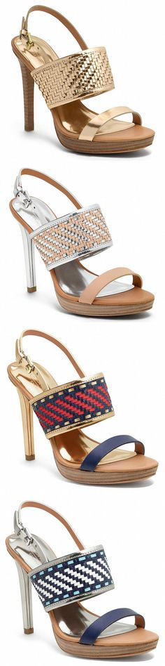 """Michelle's Coach """"Steffi"""" sandals feature intricately woven wide straps across the arch, wooden 1/4 inch platforms, mirror metallic lining, buckled slingback straps, and 4 1/4 inch heels."""