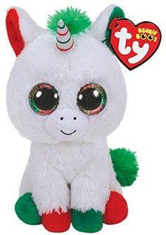 Current 438  2018 Christmas Ty 9 Medium Beanie Boos Buddy Candy Cane  Unicorn Plush Mwmt 45efa0474a58