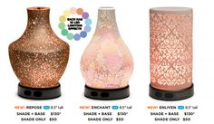 New Scentsy Individual Diffuser Shades! Now you can purchase just a shade for your diffuser and mix and match the shade to fit your mood or decor. Also, we have three new shades to choose from (pictured).