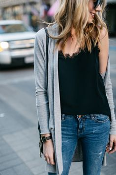 Fall Outfit, Winter Outfit, Anine Bing Black Lace Tank, Grey Long Cardigan, Denim Ripped Skinny Jeans