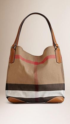 Saddle brown Medium Canvas Check Tote Bag - Image 1