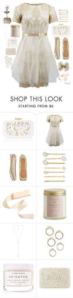 """""""sara"""" by soft-orchid ❤ liked on Polyvore featuring Devi Kroell, Notte by Marchesa, Bloch, Jennifer Behr, Illume, Kendra Scott, Herbivore and Fresh"""
