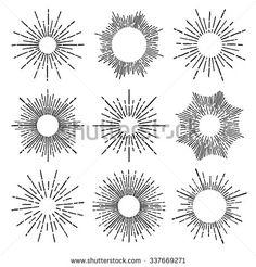 9 Art deco vintage sunbursts collection with geometric shape, light ray. Set of vintage sunbursts in different shapes. Sun Rays Tattoo, Sun Tattoos, Small Tattoos, Tatoos, Tiny Sun Tattoo, Celtic Tattoos, Sleeve Tattoos, Ink Tatoo, Form Tattoo