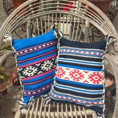 """SOLD PAIR Wool aztec boho 2 pc throw pillows 15""""X11"""" by eclecticvintageboho on Etsy"""