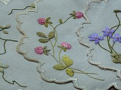 Em's Heart Antique Linens -Antique Society Silk Embroidered Cocktail Napkins