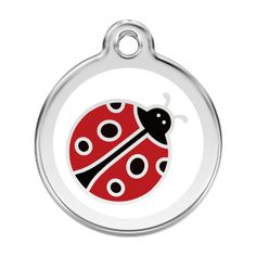 Personalized Stainless Steel  Enamel Dog Tag with Engraving  Ladybug Large ** Want to know more, click on the image.